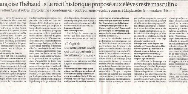 Françoise Thébaud, Le Monde, septembre 2011 (manuels scolaires)