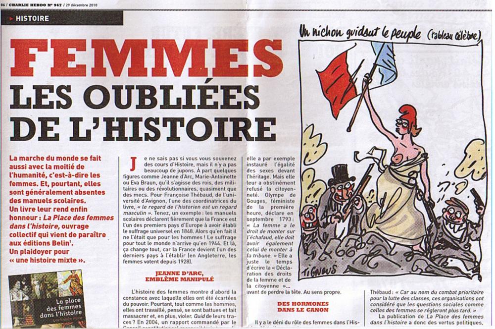 Charlie Hebdo, Antonio Fischetti : «Femmes, les oubliées de l'histoire», 29 décembre 2010, n° 967.