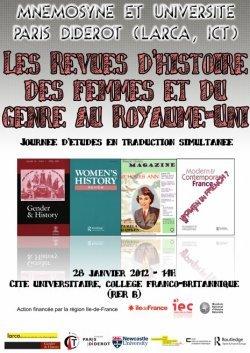 2012, Histoire des femmes et du genre au Royaume- Uni  Revues et sociétés savantes: diffusion, rayonnement, circulation